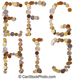 E-F-G-H-I-J alphabet letters from the coins
