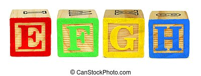 E F G H wooden toy letter blocks isolated on white