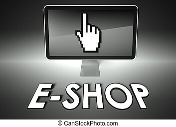 e-faire emplettes, écran, e-commerce, icône, main