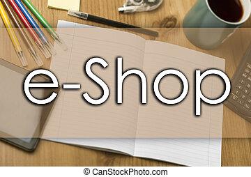e-faire emplettes, texte, concept, -, business