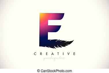 E Feather Letter Logo Icon Design With Feather Feathers Creative Look Vector Illustration