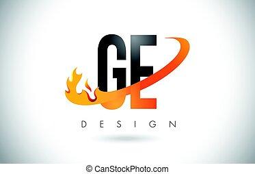 e, flammes, g, brûler, ge, conception, lettre, orange, logo...