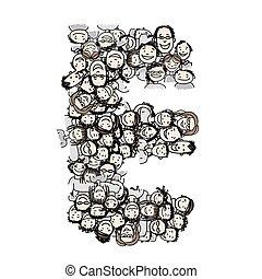 e, foule, gens, alphabet, vecteur, conception, lettre