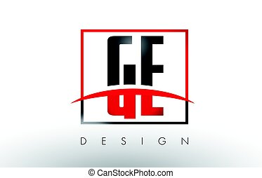 e, g, ge, couleurs, noir, logo, lettres, swoosh., rouges