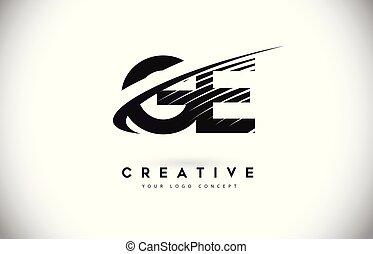 e, g, ge, lines., conception, lettre, swoosh, logo, noir