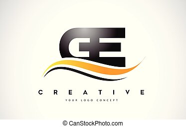 e, g, logo, moderne, jaune, ge, lines., conception, lettre, ...