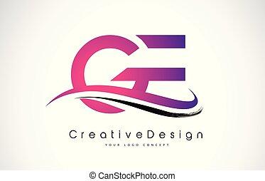 e, g, moderne, créatif, ge, vecteur, lettre, logo, lettres, ...