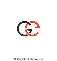 e, g, symbole, logotype, élément, ge, conception, lettre