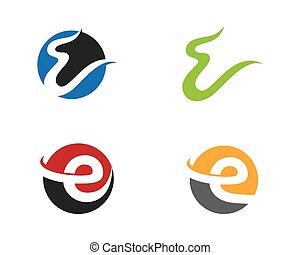 e, gabarit, business, vecteur, lettre, logo, icône
