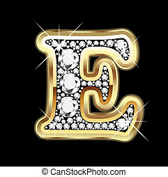 E gold with diamonds bling vector
