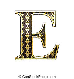 e golden letter 3d illustration