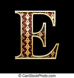 e golden letter 3d illustration