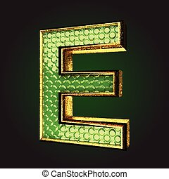 e green letter with gold