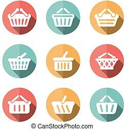 e-hacer compras, cesta, plano, iconos