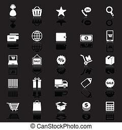 e-handel, iconen, met, denken over, zwarte achtergrond