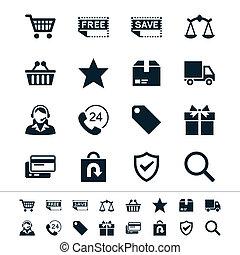 e-handel, ikony