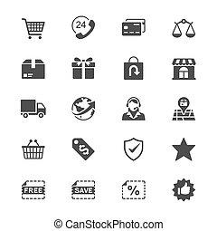 e-handel, płaski, ikony