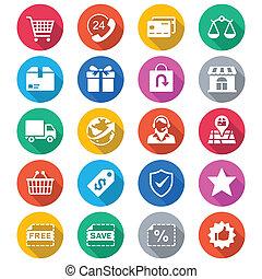 e-handel, plat, kleur, iconen