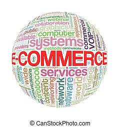 e-handel, wordcloud, bal, woord, markeringen
