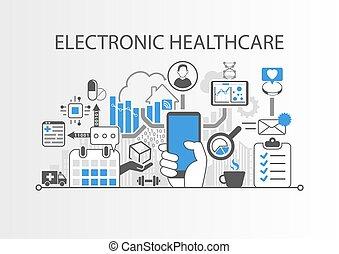 e-health, ábra, vektor, háttér, healthcare, elektronikus,...