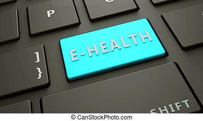 e-health, concetto, chiave calcolatore, tastiera
