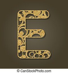 e, illustration., oro, vector, carta, inglés, laser,...