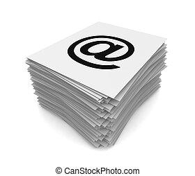 e, illustration, pile, courrier, 3d, concept