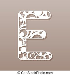 e, illustration., vector, carta, inglés, laser, cutting.,...
