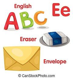 e, illustratore, alfabeto