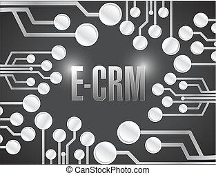 e, illustrazione, disegno, asse, circuito, elettronico, crm