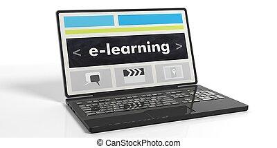 e-imparando, interpretazione, schermo, laptop's, 3d