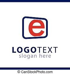 e initial letter logo vector template