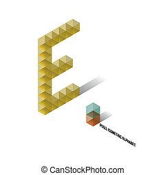 e, isometric, -, pixel, abeceda