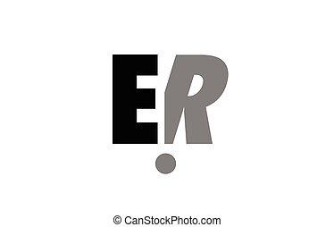 e, kombination, alphabet, grau, r, schwarz, brief, logo, weißes, äh, ikone