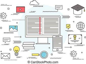e-lära, begrepp, utbildning, direkt