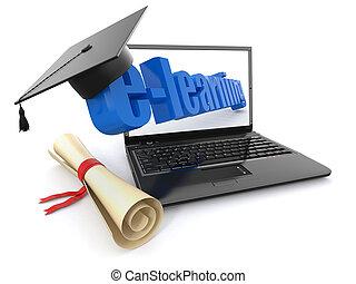 e-learning., ラップトップ, 卒業証書, そして, モルタル, board.