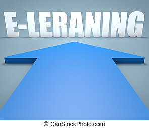 E-learning - 3d render concept of blue arrow pointing to...