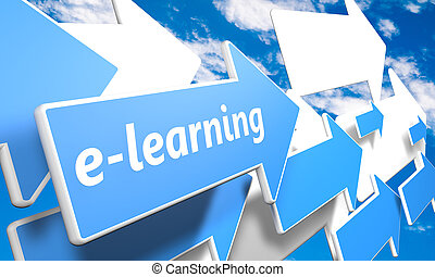 E-learning 3d render concept with blue and white arrows...