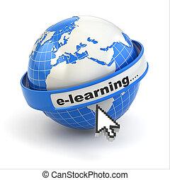 e-learning., aarde, en, muis, cursor, op wit, achtergrond.