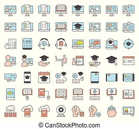 e learning and educated online icon set, filled icon...