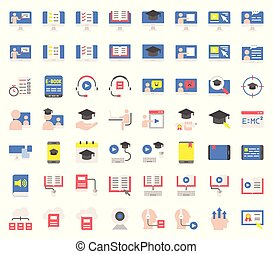 e learning and educated online icon set, flat design