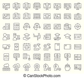 e learning and educated online icon set, outline editable...