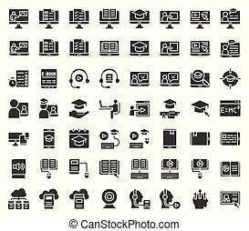 e learning and educated online icon set, solid or glyph...