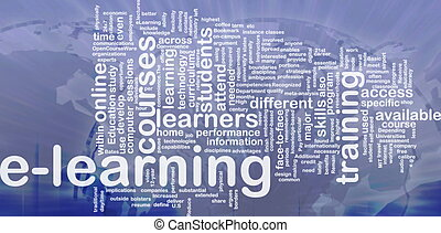 Background concept wordcloud illustration of e-learning international