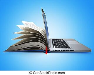 e-learning., begriff, von, education., internet, labrary., buch, und, laptop.
