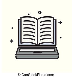 E-Learning book line icon on white background for graphic and web design, Modern simple vector sign. Internet concept. Trendy symbol for website design web button or mobile app.