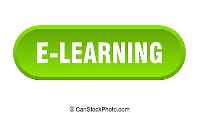 e-learning button. e-learning rounded green sign. e-learning