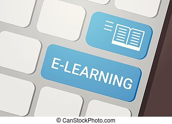 E-learning Button On Laptop Keyboard Online Education Concept
