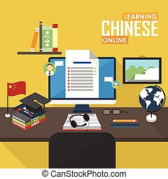 E-learning Chinese language. - Flat design vector...