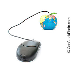 E-learning - Computer mouse attached to an atlas apple
